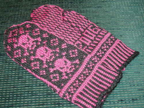 Pink Pirate Mittens